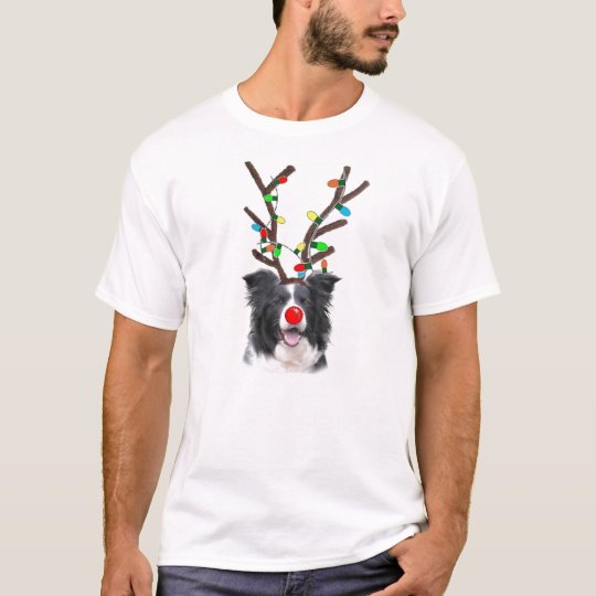 Border Collie Christmas Tee~Reindeer T-Shirt