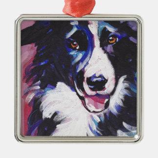 Border Collie Colorful Pop Dog Art Christmas Ornament