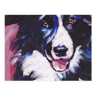 Border Collie Colorful Pop Dog Art Postcard