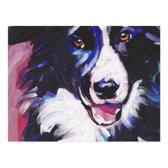 Border Collie Colourful Pop Dog Art Postcard
