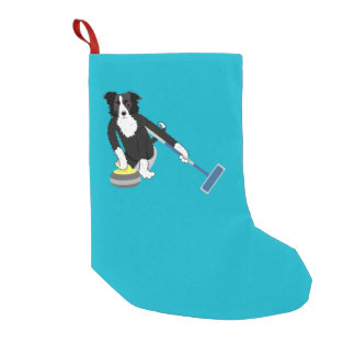 Border Collie Curling Small Christmas Stocking