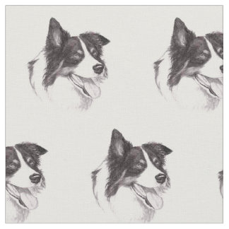 Border Collie Dog Art Fabric
