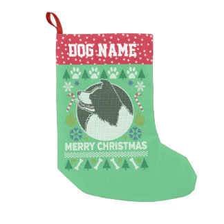 Border Collie Dog Breed Ugly Christmas Sweater Small Christmas Stocking