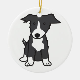Border Collie Dog Cartoon Christmas Ornament