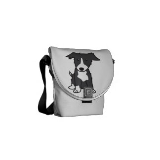 Border Collie Dog Cartoon Messenger Bag
