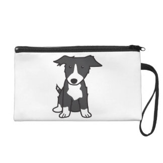 Border Collie Dog Cartoon Wristlet