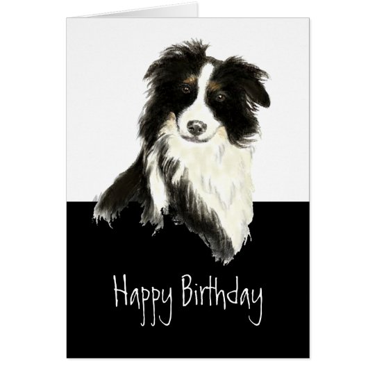 Border Collie Dog Custom Name Watercolor Humour Card