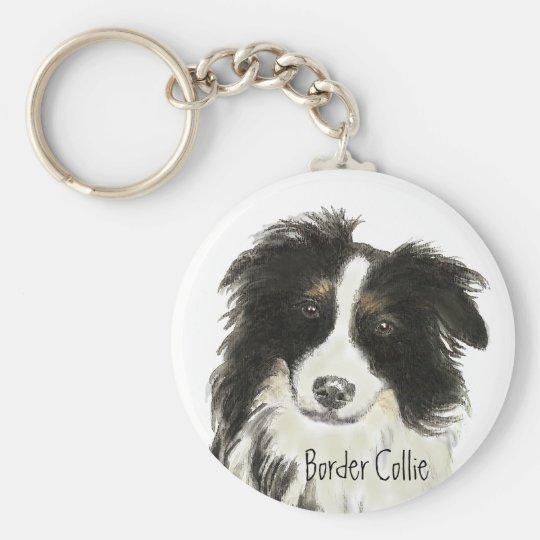 Border Collie Dog o Basic Round Button Key Ring