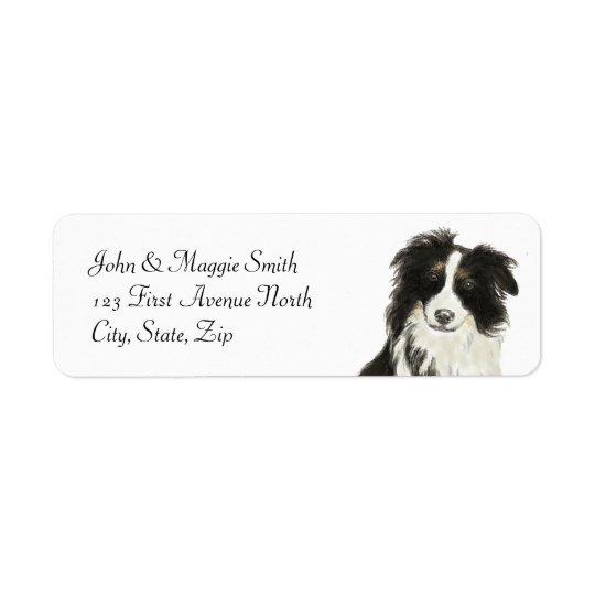 Border Collie Dog Pet Animal Custom Name Label Return Address Label