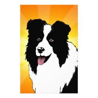 Border Collie Dog Pop Art Pet  Bright Customize Stationery Design