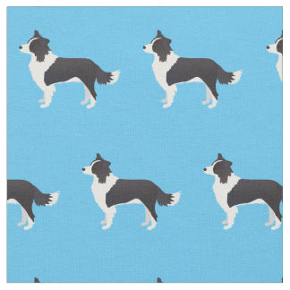 Border Collie Dog Silhouette Tiled Fabric