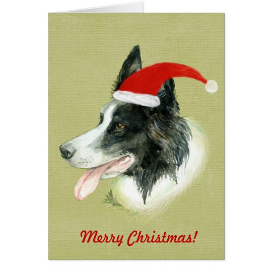 Border Collie Dog w Christmas Santa Hat Card