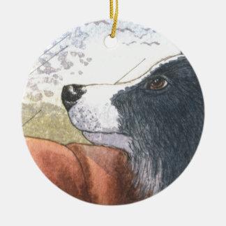 Border Collie dog waiting in car Round Ceramic Decoration