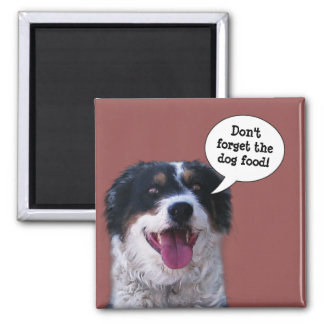 Border Collie: Don't forget the Dog Food Square Magnet