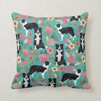 Border Collie Floral Dog Pillow