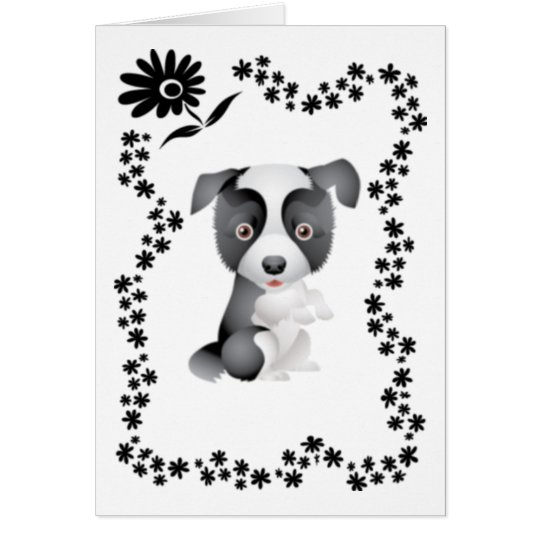 Border Collie Flowers Card