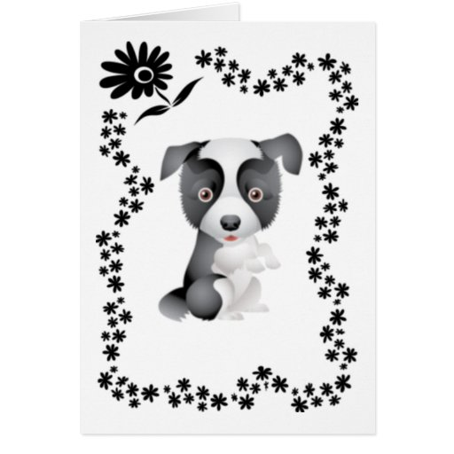 Border Collie Flowers Greeting Card