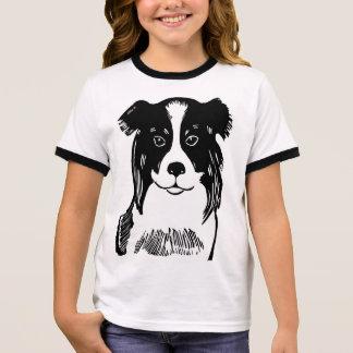 Border Collie Girl's Ringer T-Shirt
