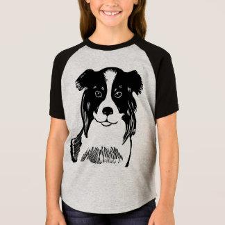 Border Collie Girl's Short Sleeve Raglan T-Shirt