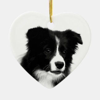 Border Collie Heart Ornament