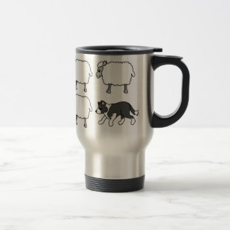 Border Collie Herding Sheep Travel Mug