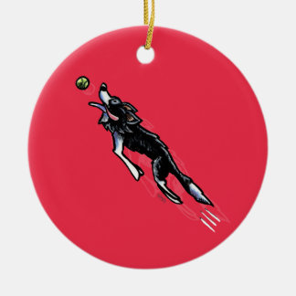 Border Collie in Action Christmas Ornament