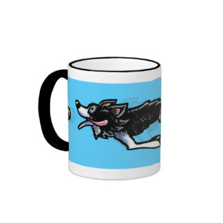 Border Collie in Action Coffee Mugs