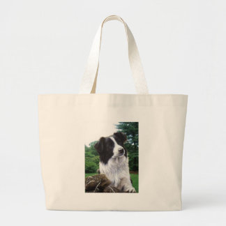 Border collie in park large tote bag