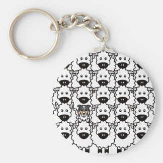 Border Collie in the Sheep Key Chain