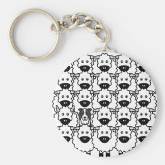 Border Collie in the Sheep Key Ring