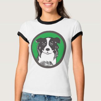 Border Collie Ladies Ringer T-Shirt