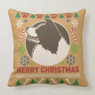 Border Collie Merry Christmas Ugly Sweater Throw Pillow
