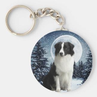 Border Collie & Moon Keychain