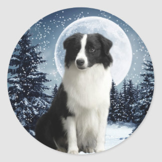 Border Collie & Moon Sticker