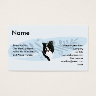 Border Collie on Blue Feather Business Card