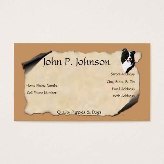 Border Collie on Old Parchment Business Card