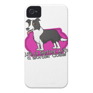 Border Collie on pink! iPhone 4 Covers