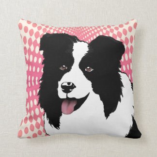 Border Collie Original Art Pop Art Pink Pillow