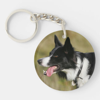 Border Collie Panting Headshot 2 Key Ring