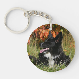 Border Collie Panting Laying Down Double-Sided Round Acrylic Key Ring
