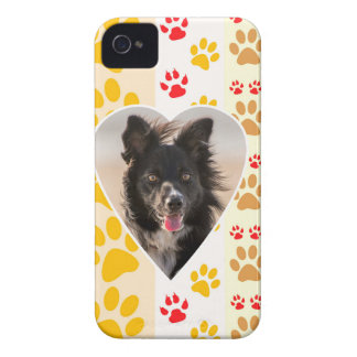 Border Collie Paw Print Love Heart iPhone 4 Case-Mate Cases