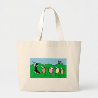 Border Collie Pied Piper Large Tote Bag