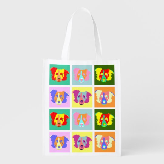 Border Collie Pop Art Reusable Grocery Bag