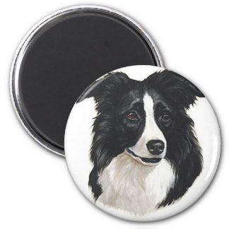 Border Collie Portrait 6 Cm Round Magnet