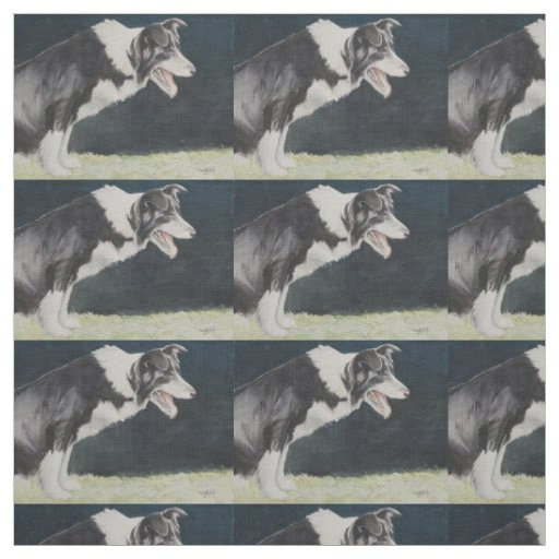 Border Collie Profile Watercolor Dog Art Fabric