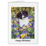 Border Collie Pup and Flowers, Happy Birthday! Greeting Card