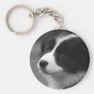 Border Collie Puppy Basic Round Button Key Ring