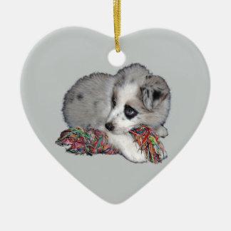 border collie puppy blue merle ceramic heart decoration