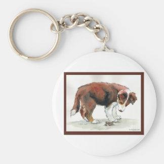 Border Collie Puppy & Grasshopper Key Ring