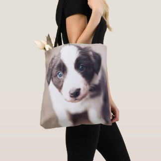Border Collie Puppy With Blue Eyes Tote Bag